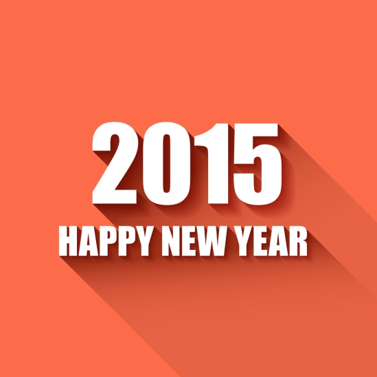 Vector Modern simple Happy new year card (2015) with a long shad